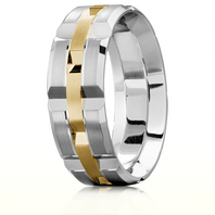 CARLEX WB-9168YW 18kt White Gold 7.5mm Comfort Fit Wedding Band with Yellow Gold Links