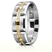 CARLEX WB-9319-S 18kt White Gold 7.5mm Comfort Fit Diamond Wedding Band with Yellow Gold Links (.16ct)