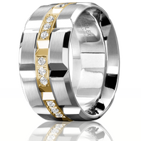 CARLEX WB-9166YW 18kt White & Yellow Gold 11mm Comfort Fit Diamond Wedding Band (.42ct)