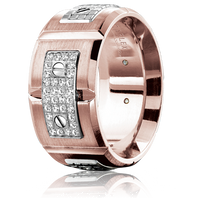 CARLEX WB-9897WR 18kt Rose & White Gold 11mm Comfort Fit Diamond Wedding Band (.19ct)