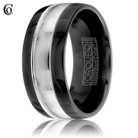 TORQUE by Crown Ring Black & White Cobalt 9mm Wedding Ring Style # CBB-0001