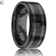 TORQUE Black & White Cobalt 9mm Comfort Fit Ring - CBB-0012
