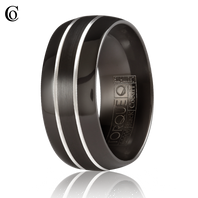 TORQUE Black & White Cobalt 9mm Comfort Fit Ring - CBB-2033