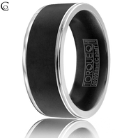 TORQUE Black & White Cobalt 9mm Comfort Fit Ring - CBB-0022