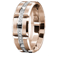 CARLEX WB-9320WR 18kt Rose Gold 7.5mm Comfort Fit Diamond Wedding Band with White Gold Links (.16ct)