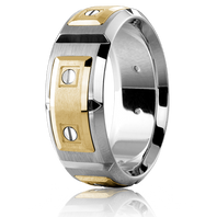 CARLEX WB-9852 8mm 18kt White Gold & Yellow Gold Links - Comfort-Fit