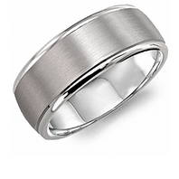 Crown Ring WB-7023 8mm Satin 14kt White Gold - Comfort Fit