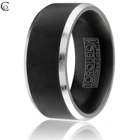 TORQUE Black & White Cobalt Beveled Edge 9mm Comfort Fit Ring - CBB-0003