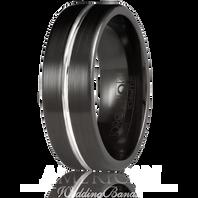 TORQUE Black Cobalt White Center Grooved 7mm Comfort Fit Ring CBB-7014