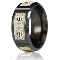CARLEX WB-9792YB-S Black Cobalt & 18kt Yellow Gold 9.5mm Comfort Fit Diamond Wedding Band (.80ct)