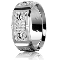 CARLEX WB-9792WW-S 18kt White Gold 9.5mm Comfort Fit Diamond Wedding Band (.80ct)