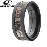 Lashbrook Mossy Oak 8mm Camo Black Zirconium Ring - 8F14