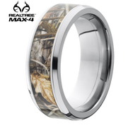 Lashbrook Realtree 8mm MAX-4 Camo Titanium Bevel Edge Ring - 8B15-MAX4