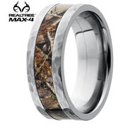 Lashbrook Realtree 8mm MAX-4 Camo Titanium Hammered Ring - 8F14-MAX4