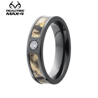 Lashbrook Realtree MAX-4® Camo 5mm Black Zirconium Diamond Ring (.05ct) - 5F13SEG-DIA