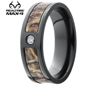 Lashbrook Realtree MAX-4® Camo 7mm Black Zirconium Diamond Ring (.05ct) - 7F13SEG-DIA