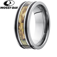 Lashbrook Mossyoak 8mm Camo Titanium Ring with Double Black Inaly - 8F1321A-MO