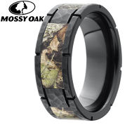 Lashbrook Four Segment Mossy Oak Camo 8mm Zirconium Ring with Hammered Finish - Z8F4SEG-MO