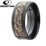 Lashbrook Mossy Oak Camo 9mm Zirconium Ring with Cross-Satin Finish - Z9FGE15-MO