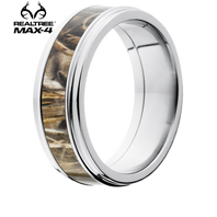 Lashbrook Realtree MAX-4 Camo 6mm Titanium Grooved Edge Ring - 6FGE13-MAX4