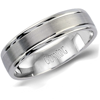LB-2000 Light Weight 5.5mm Satin & Polished 14kt White Gold Comfort Fit Ring