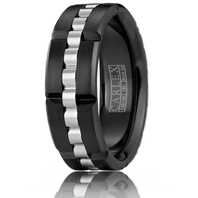 CARLEX CX3-0009WB-S 7.5mm Black Cobalt & 18kt White Gold - Comfort-Fit