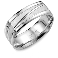 Crown Ring WB-7909 Square 7mm 14kt White Gold Comfort Fit Ring