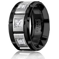 CARLEX WB-9474WB Black Cobalt & 18kt White Gold 10.5mm Princess Diamond Wedding Band (.45ct)