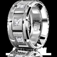 CARLEX WB-9474-S 18kt White Gold 10.5mm Princess Diamond Wedding Band (.45ct)