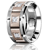 CARLEX WB-9474RW-S 18kt White & Rose Gold 10.5mm Princess Diamond Wedding Band (.45ct)
