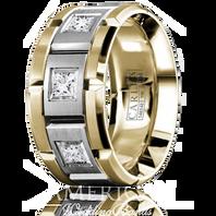 CARLEX WB-9474WY-S 18kt Yellow & White Gold 10.5mm Princess Diamond Wedding Band (.45ct)