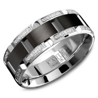 CARLEX WB-9317BW 7.5mm 18kt White Gold Comfort Fit Diamond Wedding Band with Black Cobalt (.42ct)