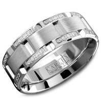 CARLEX WB-9317 7.5mm 18kt White Gold Comfort Fit Diamond Wedding Band (.42ct)