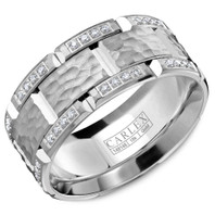 CARLEX WB-9475 Hammered 18kt White Gold 9.5mm Comfort Fit Diamond Wedding Band (.42ct)