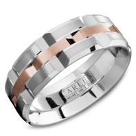 CARLEX WB-9168RW 18kt White Gold 7.5mm Comfort Fit Wedding Band with Rose Gold Center Links