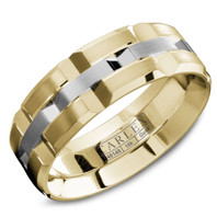 CARLEX WB-9168WY 18kt Yellow Gold 7.5mm Comfort Fit Wedding Band with White Gold Center Links