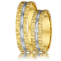 DORA Couples Ring Set 471B - 5mm Yellow Gold with White Gold Center Groove