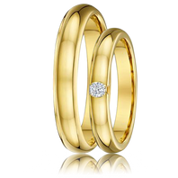 DORA Couples Ring Set 466B - Domed Yellow Gold