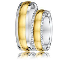 DORA Couples Ring Set 448B - 6mm White & Yellow Gold Domed Grooved Edge