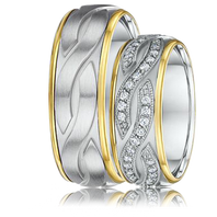 DORA Couples Ring Set 442B - 7mm Engraved White Gold with Yellow Gold Rounded Edges
