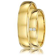 DORA Couples Ring Set 403B - Wide & Narrow Yellow Gold