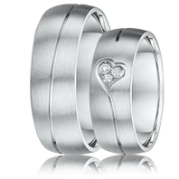 DORA Couples Ring Set 187B - 7mm White Gold Grooved Heart