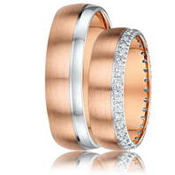 DORA Couples Ring Set 784A - 6mm Rose Gold with White Gold Edge
