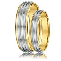DORA Couples Ring Set 805A - Wide & Narrow Yellow Gold with Ribbed White Gold
