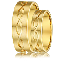 DORA Couples Ring Set 872A  - Wide & Narrow Yellow Gold