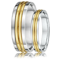 DORA Couples Ring Set 390B - Wide & Narrow White Gold with Double Yellow Gold