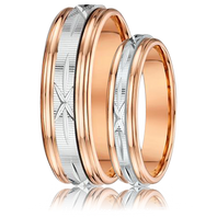 DORA Couples Ring Set 380B - Wide & Narrow Rose Gold with Diamond Etched White Gold