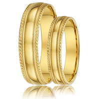 DORA Couples Ring Set 364B - Wide & Narrow Yellow Gold with Rope & Millgrain Edge