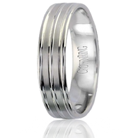LB-2008 Light Weight 5.5mm Satin & Polished Finish 14kt White Gold Comfort Fit Ring