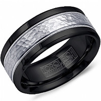 TORQUE Black Cobalt & 14kt White Gold 9mm Comfort Fit Ring - CB003MW9